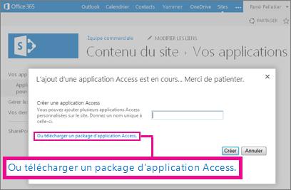 Télécharger un package d'application Access dans la page Ajouter une application sur un site SharePoint
