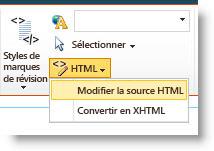 Commande Modifier la source HTML