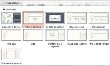 Sous l'onglet Accueil, cliquer sur Disposition pour modifier l'apparence de la diapositive