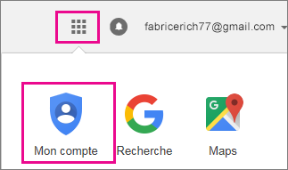 Dans le coin supérieur droit, appuyez sur le bouton Applications, puis sur l'icône Mon compte.