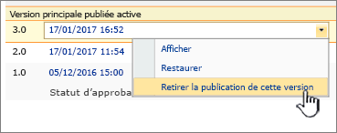Annuler la publication liste déroulante fichier publié avec cette option version mis en surbrillance