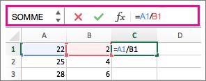 Barre de formule montrant une formule