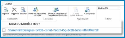 Illustration du ruban de l'affichage Modèle BDC dans le BCS SPO.