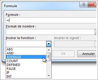 Zone Formule avec le menu de fonctions