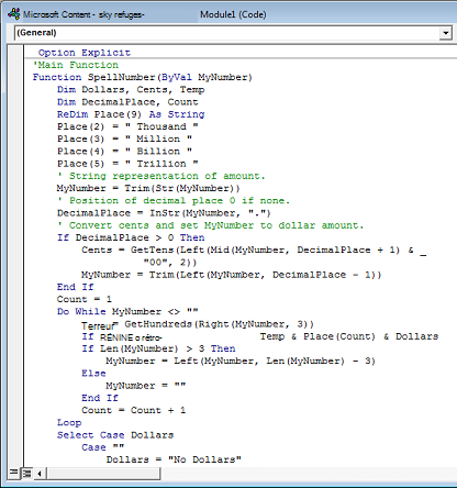 Code collé dans le Module1 zone (Code).