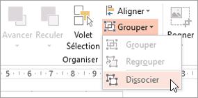 Sélection de dissocier dans le menu de groupe