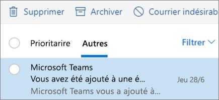 Archivage de messages dans Outlook sur le web