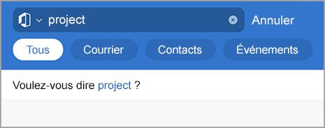 Affiche la recherche dans Outlook avec des fautes de frappe