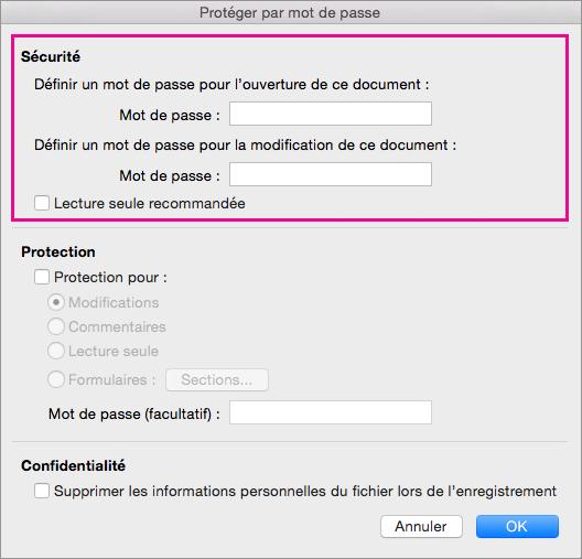 Dans la boîte de dialogue Protéger par mot de passe, l'option Sécurité est mise en évidence