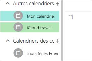 calendrier iCloud figurant sous autres calendriers dans Outlook pour le web