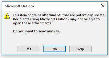 Message d'avertissement d'Outlook sur l'envoi de pièces jointes potentiellement dangereuses