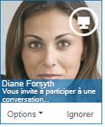 Capture d'écran de la boîte de dialogue de demande de messagerie instantanée