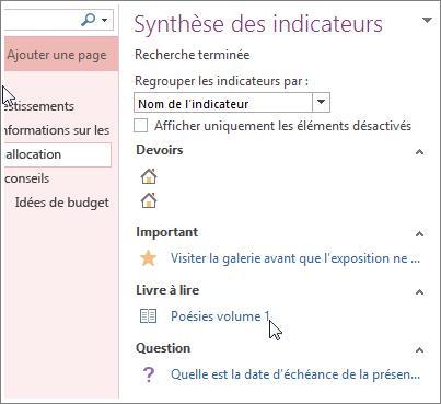 Rechercher des indicateurs de notes dans le volet Synthèse des indicateurs