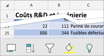 Feuille de calcul au bas de laquelle sont affichées les commandes contextuelles disponibles