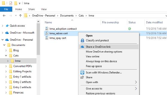 How to share a file via Microsoft OneDrive on Windows 10