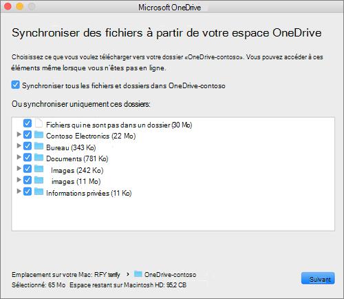 Capture d'écran OneDrive menu de configuration pour la sélection des dossiers ou fichiers à synchroniser.