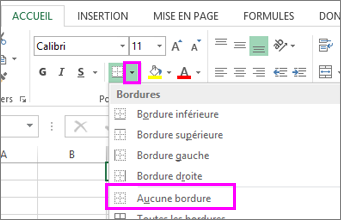 Option Supprimer la bordure