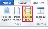 Comment insérer un saut de page
