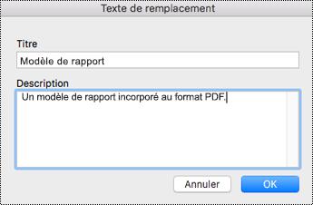 Ajouter un texte de remplacement aux fichiers incorporés dans OneNote pour Mac