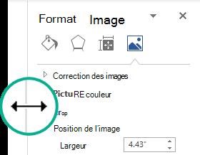Vous pouvez modifier la largeur d'un volet ancré