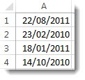 Dates non triées dans une feuille de calcul