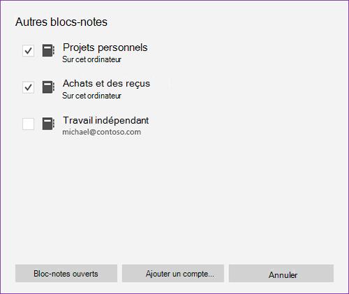 Capture d'écran de la fenêtre de plus de blocs-notes dans OneNote