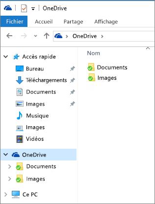 OneDrive dans l'Explorateur de fichiers