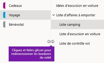 Redimensionner les volets de navigation dans OneNote pour Windows 10