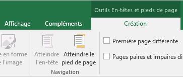 Décomposition de la barre d'outils Création d'Excel
