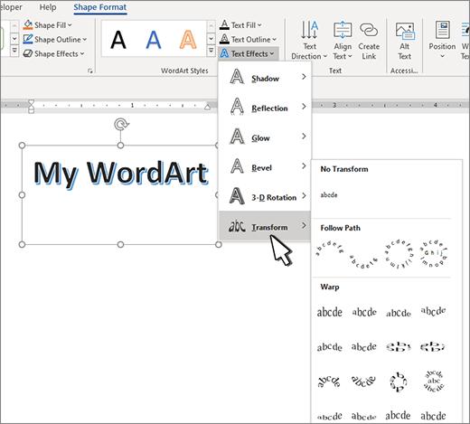 Transformation des effets de texte