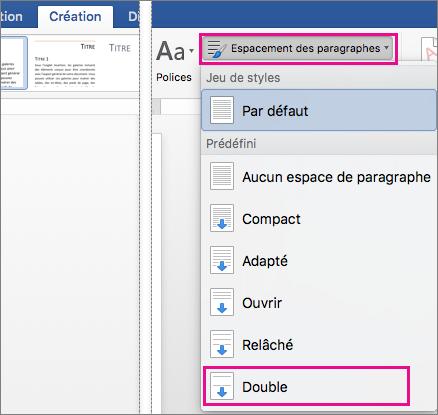Sous l'onglet Création, l'option Double sous Espace entre paragraphes est mise en évidence.