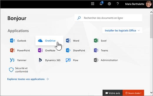Écran d'accueil Office 365 avec, sélectionnez OneDrive
