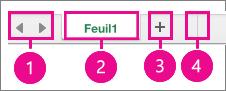 Coin inférieur gauche de la page qui affiche les contrôles de la feuille