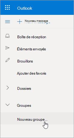 Nouvel emplacement de groupe dans Outlook.com dossiers