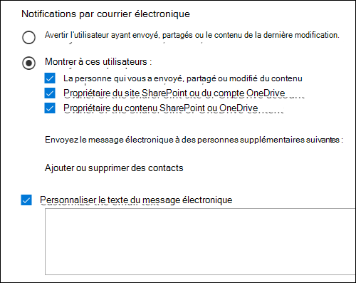 Options de notification de courrier électronique