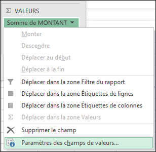 Excel - Boîte de dialogue Paramètres des champs de valeurs