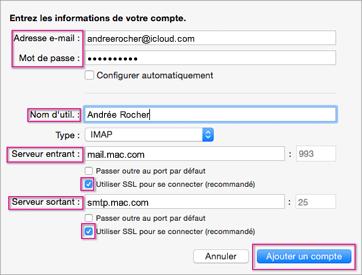 Configurer la messagerie iCloud dans Outlook 2016 pour Mac