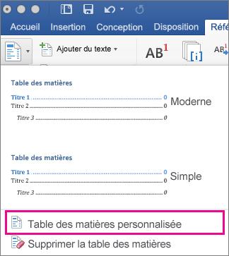 Mettre en forme ou personnaliser une table des mati res for Dans word