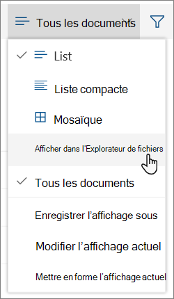 Menu tous les documents étant ouverte dans l'Explorateur de fichiers mis en surbrillance