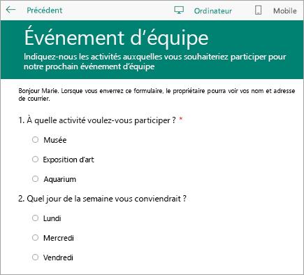 Mode Aperçu sur un ordinateur d'un formulaire d'enquête en classe