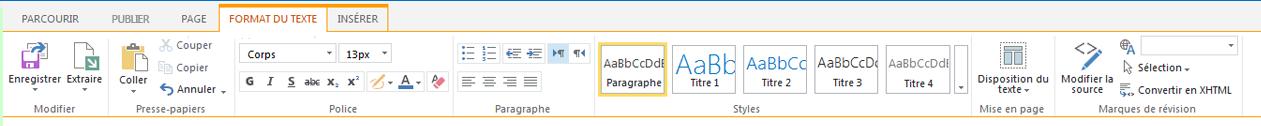Capture d'écran de l'onglet Format du texte qui contient de nombreux boutons pour la mise en forme du texte
