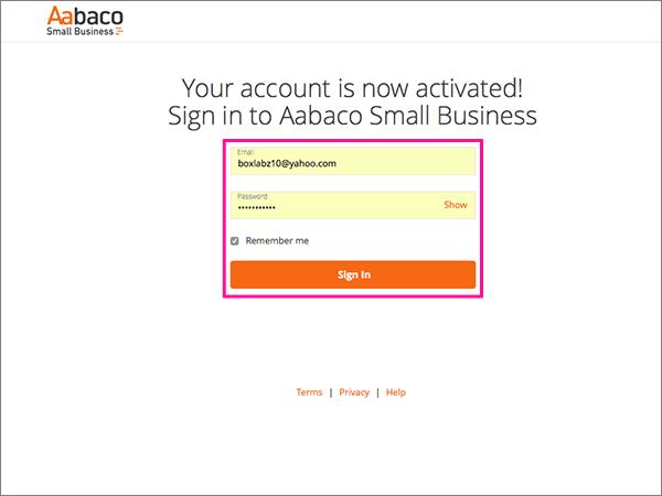 La page de connexion pour Aabaco Small Business