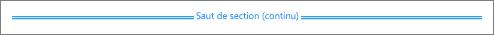 Un saut de section continu est visible lorsque Word affiche tous les caractères non imprimables.