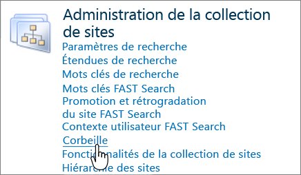 SharePoint 2010 - Section Administrateur de collection de sites avec l'option Corbeille mise en évidence