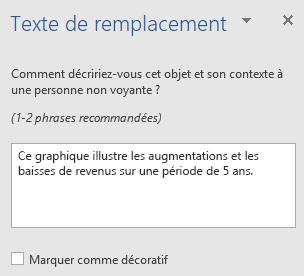 Volet texte de remplacement dans Word Win32 pour les graphiques