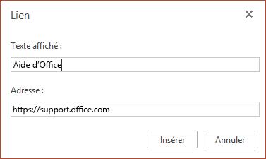 Insérer un lien hypertexte