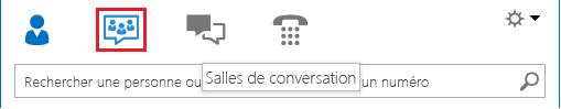 Capture d'écran de la fenêtre principale de Lync avec la salle de conversation sélectionnée dans la section des icônes