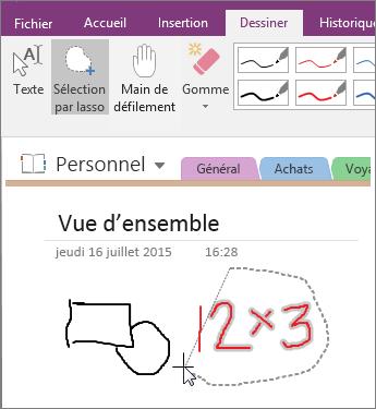 Capture d'écran de l'utilisation du bouton Sélection par lasso dans OneNote2016.
