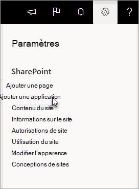 Menu Paramètres avec l'option Ajouter une application sélectionnée