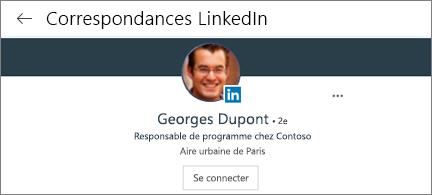 Carte de visite avec photo, fonction et bouton de connexion LinkedIn